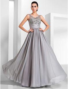 uma linha-v-pescoço até o chão chiffon e tule vestido de noite - GBP £ 122.77