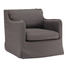 Overstuffed arm chair.   Product: ChairConstruction Material: Hardwood and fabricColor: Gray...