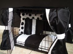 Dog Crate Cover Ensemble 5 pieces Black and White Free by lmikel, $95.00