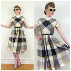 Vintage 1950s Grey Plaid Day Dress / 50s Short by BasyaBerkman, $125.00