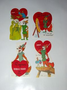 x4 Vintage 1970's ROBIN HOOD Disney Valentines in Collectibles, Holiday & Seasonal, Valentine's Day | eBay