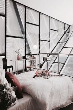 bedroom design with steal & glass wall #verrière #atelier