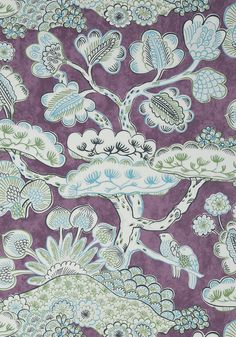 TREE HOUSE, Eggplant, AT9865, Collection Nara from Anna French Tree House Wallpaper, View Wallpaper, Anna French, Chinoiserie Chic, Japanese Architecture, Motif Floral, Colour Board, Japanese Design, Watercolor Techniques