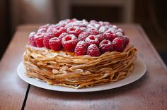 I like this idea!  Just make your favorite crepe recipe and top with rasberries dusted with powdered sugar!