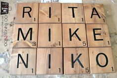 How to Make Scrabble Tiles Create a warm, welcoming and fun gallery wall including your own Scrabble names. How to make Scrabble tiles as decor. Scrabble Tile Wall Art, Scrabble Tile Crafts, Scrabble Board, Scrabble Letters, Wood Crafts, Diy Wood, Diy Letters, Pallet Crafts, Diy Crafts