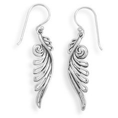 These oxidized sterling silver angel wing earrings measure about 41mm x 27.5mm. We also have for sale a matching pendant. $28.00