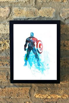 Hey, I found this really awesome Etsy listing at https://www.etsy.com/listing/204375497/captain-america-marvel-comic-watercolor