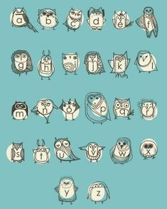 Owl alphabet - LOVE it. Perfect for the owl themed nursery. Alphabet Nursery, Owl Nursery, Alphabet Print, Alphabet Posters, Abc Poster, Themed Nursery, Alphabet Kindergarten, Concours Photo, Cool Typography