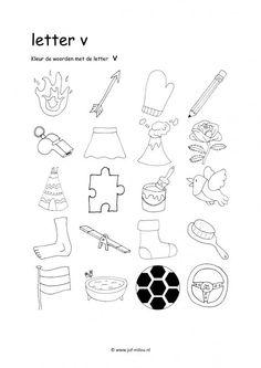 Werkbladen - taal - letters leren ~ Juf Milou Alphabet Worksheets, Alphabet Activities, Kindergarten Worksheets, Activities For Kids, I Love School, Pre School, School Posters, Letter V, Learning Letters