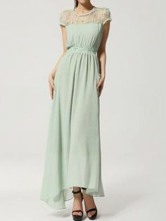Shop Green Chiffon Maxi Dress With Lace Shoulder from choies.com .Free shipping Worldwide. - $33