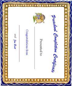 free printable certificates preschool graduation - Google Search