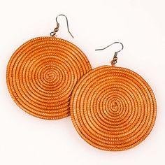 Rwandan Sisal Earrings Orange now featured on Fab.