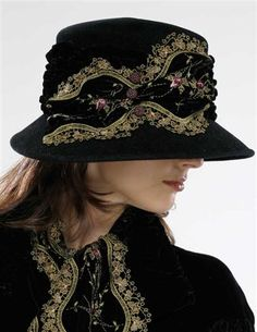 1920s Hat Styles for Women- History Beyond the Cloche Hat Louise Green Embroidered Velvet Fedora $249.95 AT vintagedancer.com