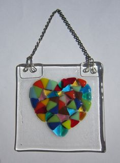 Colorful Heart  Tile Wall Hanging by YaliGlassArt on Etsy, $16.00