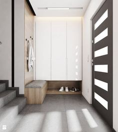 Great hall-stand and wardrobe solution , especially the shoe shelve. Apartment Entrance, Home Entrance Decor, Entrance Foyer, House Entrance, Foyer Decorating, Interior Decorating, Decorating Bathrooms, Decorating Kitchen, Decorating Ideas