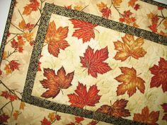 Autumn Table Runner with leaves metallic by PicketFenceFabric