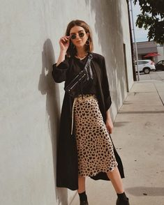 How to Make Animal Prints a Staple in your Closet - Take Aim Michelle Madsen from Take Aim in LA street style wearing silk leopard skirt and black jacket Style Outfits, Fall Outfits, Casual Outfits, Cute Outfits, Fashion Outfits, Indie Rock Outfits, Sweater Outfits, Work Outfits, Summer Outfits