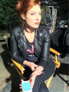 Alaina Huffman behind the scenes
