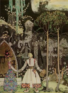 """Kay Nielsen, illustration to The Giant Who Had No Heart In His Body, from """"East of the Sun, West of the Moon"""". """"He took a long, long farewell of the Princess, and when he got out of the Giant's door, there stood the Wolf waiting for him."""""""