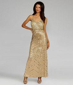 bridesmaid dress. sequin. champagne. spaghetti strap. chevron stripes. long.