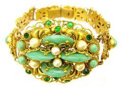 Vintage Czech Bohemian gilt filigree Peking glass and crystal bracelet