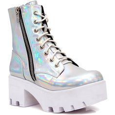 Current Mood Chiller Holographic Platform Boots ($88) ❤ liked on Polyvore featuring shoes, boots, lace front boots, platform boots, adjustable shoes, laced shoes and platform lace up shoes