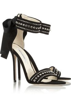 Brian AtwoodCrystal Embellished Suede Sandals