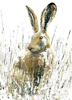 'Snow Hare' By Sarah Pye. Blank Art Cards By Green Pebble. www.greenpebble.co.uk