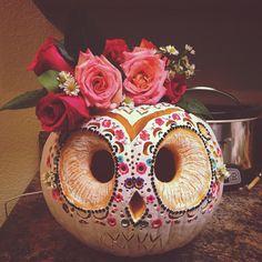 My Sugar Skull Owl for the 2014 pumpkin carving contest! 1st prize winner! Carved pumpkin. Owl pumpkin.