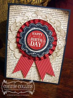 Blue Ribbon Birthday stamp set; doily; dictionary stamp