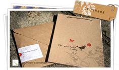 Faire part de mariage thème nature en papier recyclé  le pinson