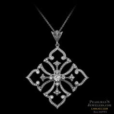 Carl Blackburn 18kt white gold Gothic look diamond pendant from Pearlman's Jewelers