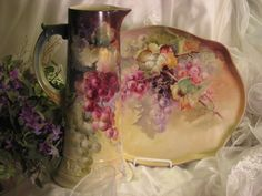 """MAGNIFICENT LUSCIOUS GRAPES"" Absolutely Gorgeous Antique LARGE CAC Ceramic Arts Company Belleek Grapes Hand Painted Tankard Spectacular Heirloom Treasure Artist Signed ""E Jenkins"" Circa 1900"