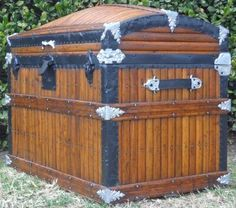Antique trunk history from early man until the Victorian era. Antique trunk restoration information is also available on our website. Saratoga Trunk, Horse Drawn Wagon, Steamer Trunk, Trunks And Chests, Wooden Slats, Victorian Era, Civilization, Inventions, Restoration