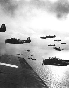 US Navy planes(possibly TBF(M) Avenger) preparing to bomb Japan. (Photo by W. Eugene Smith//Time Life Pictures/Getty Images)