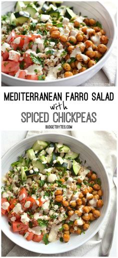 This Mediterranean Farro Salad with Spiced Chickpeas is packed with flavor, texture, and nutrients (and no animal products!). Step by step photos. @budgetbytes Farro Recipes, Salad Recipes, Vegetarian Recipes, Healthy Recipes, Vegan Vegetarian, Delicious Recipes, Healthy Meals, Whole Food Recipes, Dinner Recipes