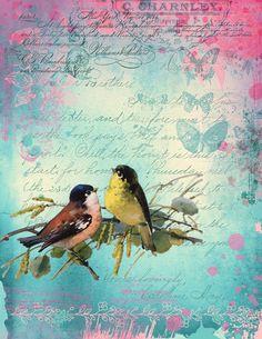 Shabby Chic Garden, Vintage Shabby Chic, Junk Journal, Garden Birds, Printable Vintage, Scrapbook Kit, Digital, Journals, Printables