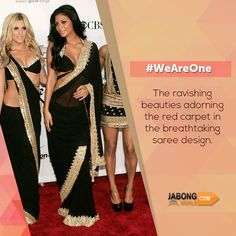Pussycat Dolls wearing elegant black saree for a red carpet event.  #WeareOne #EthnicWear
