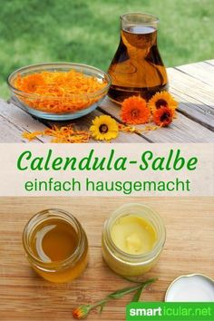 Ringelblumensalbe (Calendula ointment) simply make yourself .- Ringelblumensalbe (Calendula Salbe) einfach selber herstellen Marigold Ointment is ideal for minor wounds. You can also stir the healthy ointment yourself at home. Homemade Cosmetics, Natural Cosmetics, Herbal Medicine, Diy Beauty, Beauty Care, Beauty Hacks, Health And Beauty, Natural Remedies, Essential Oils
