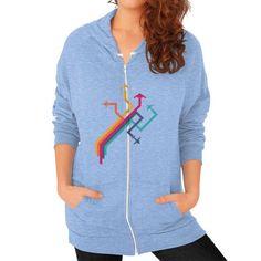 Colorful Vector Airplanes Zip Hoodie (on woman) Shirt