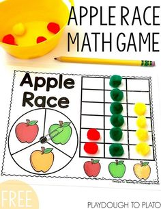 Race Math Game Free Apple Race Math Game for Preschool, Kindergarten or First Grade. Fun fall activity for kids!Free Apple Race Math Game for Preschool, Kindergarten or First Grade. Fun fall activity for kids! Preschool Apple Theme, Preschool Apple Activities, Preschool Apples, Kindergarten Apple Theme, Math Games For Preschoolers, Stem Activities, Preschool Ideas, September Preschool, Apple Unit