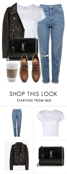 """Untitled #7207"" by laurenmboot ❤ liked on Polyvore featuring Topshop, RE/DONE, Jakke, Yves Saint Laurent and H&M"