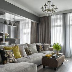 Фото из статьи: Однокомнатная квартира в которой есть кухня, гостиная, зелёный санузел, изолированная спальня