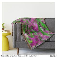 abstract flower pattern throw blanket