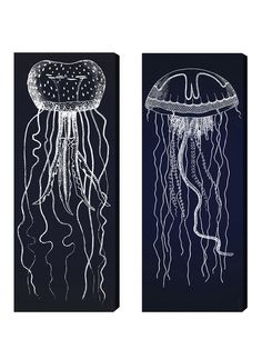 Travelling Jellyfish 2 panels Canvas Art Print.  Have kids draw with white or silver on black paper?