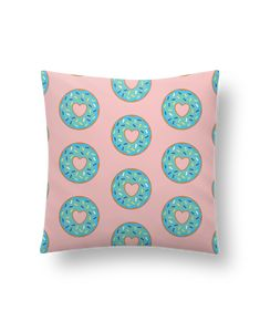 Cushion synthetic soft 45 x 45 cm Donut coeur - tunetoo #valentinesday #heart #donut #pillow