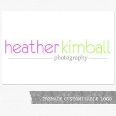 Photographer Logo and Watermark, Premade Customizable Name Logo Design. $25.00, via Etsy.