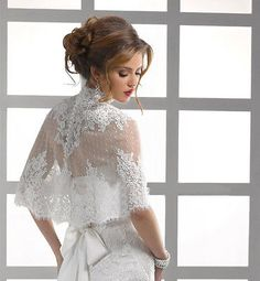 Cheap wedding jacket, Buy Quality white bolero directly from China wedding accessories Suppliers: Lace Applique White Bolero Women Half Sleeve High Neck Feminino Wedding Accessories Wedding Jacket Acessorios Para Mulher Wedding Shrug, Wedding Jacket, Wedding Gowns, Bridal Dresses, Bridesmaid Dresses, Lace Bolero, Bridal Cape, Wedding Wraps, Designer Dresses