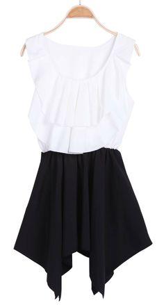 White Black Sleeveless Asymmetrical Ruffles Dress - Sheinside.com