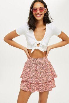 Daisy Print Shirred Mini Skirt